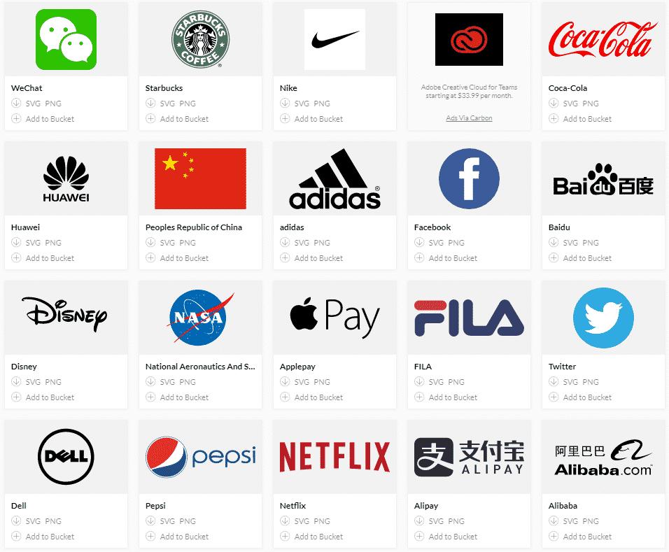 موقع يوفّر لك شعارات مجانية لأغلب الشركات العالمية للتحميل بصيغة svg و png .